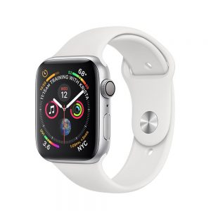 Watch Series 4 Aluminum (44mm), Silver, Black Sport Band (Third party band)