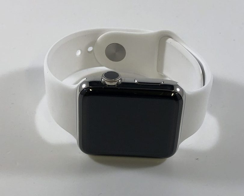 Watch Series 2 Steel (42mm), Stainless Steel, White Sport Band, imagen 1