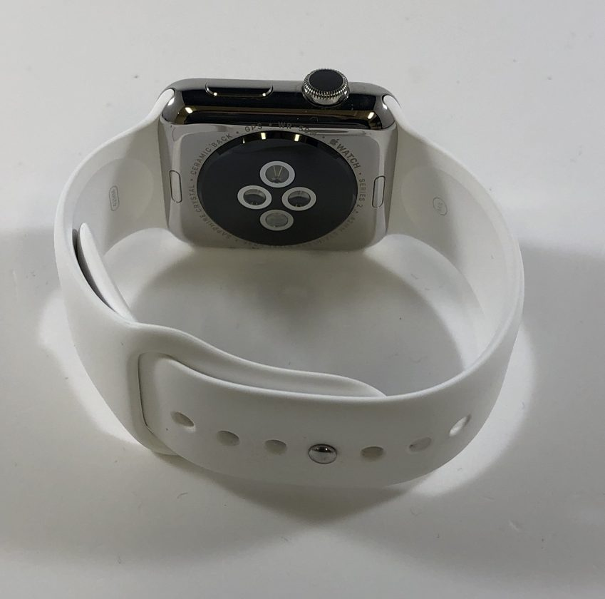 Watch Series 2 Steel (42mm), Stainless Steel, White Sport Band, imagen 2