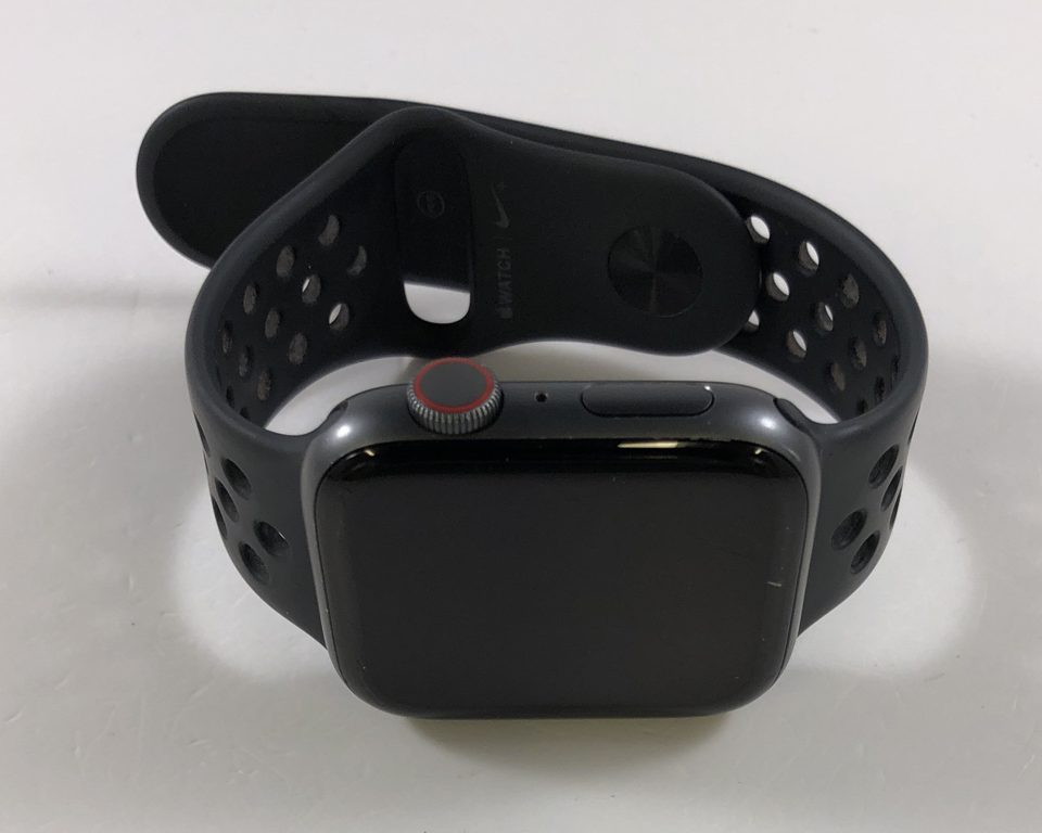 Watch Series 4 Aluminum Cellular (44mm), Space Gray, Anthracite/Black Nike Sport Band, image 1