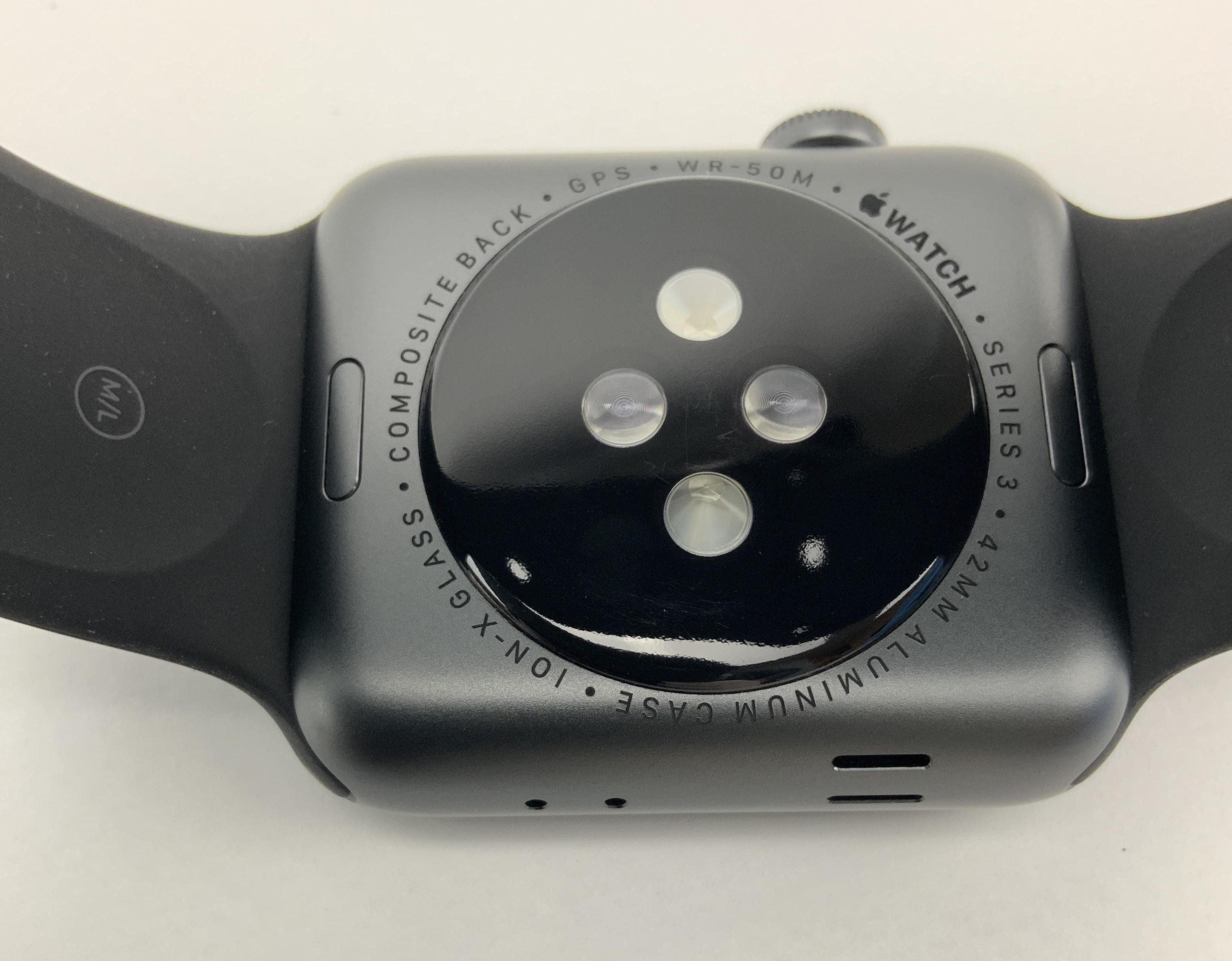 Watch Series 3 Aluminum (42mm), Space Gray, Black Sport Band, imagen 6